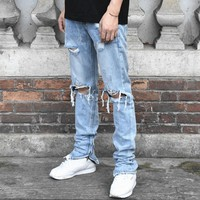 Men fashion Justin Bieber Jeans Fear of God Crush Knee hole Hip hop jean Kanye West Long biker Blue Jeans feet Long Pants