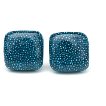 Blue topaz square studs microbead studs blue square studs earrings gift for her wood earrings eco friendly unique for her