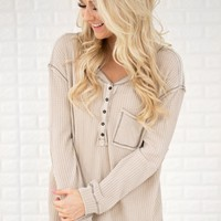 Beige Elbow Patch Thermal Top