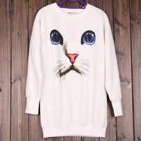 White Cat Face Sweater