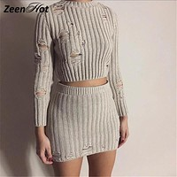 Women Autumn knitted Dress Sexy 2 Piece Set Women Fashion hollow out bodycon Dress Sexy Crop Top Ladies Two Piece Set