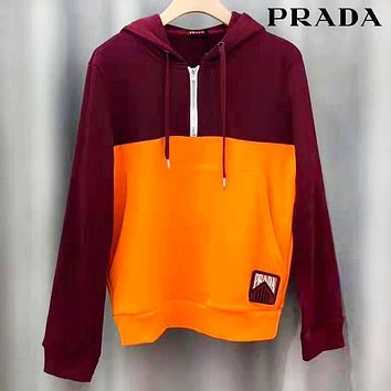 Prada 2019 new two-color stitching half zipper hooded sweater red