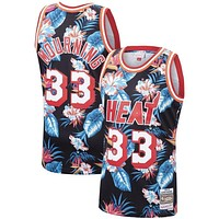 Alonzo Mourning Miami Heat Mitchell & Ness Floral Fashion Hardwood Classics Swingman Jersey