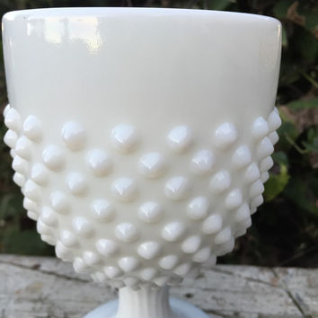Vintage Fenton hobnail white milk glass goblet, cottage chic white glassware, MCM hobnail stemware, vintage XL white bumpy glass goblet