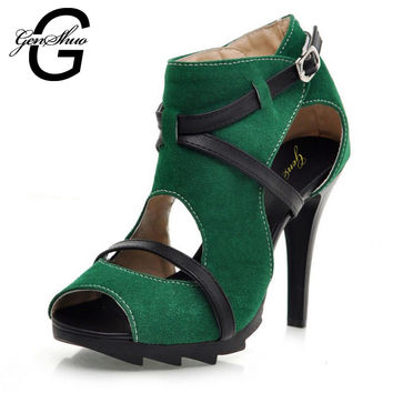 GENSHUO 2017 High-grade summer lady's peep toe sandal lace solid color high-heeled sandals cross fashion women sexy sandals