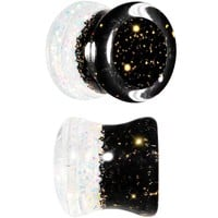0 Gauge Aurora and Black Glitter Acrylic Party Time Saddle Plug Set