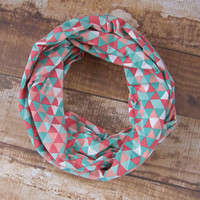 Ready to Ship Teal Coral and White Fabric Triangle Print Infinity Scarf