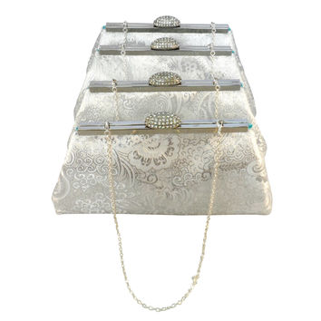 Set of Four Silver Paisley and Teal Bridesmaid Gift Clutches 5% Off