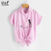 Cat Embroidered Cuffed Tie Hem Vertical Blouse Summer Pink Striped Lapel Collar Blouse Ladies Button Bow Top