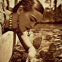 Frida Kahlo Photomontage What The Water Gave Me Art Print Original Signed Mixed Media Collage Surreal Surrealist