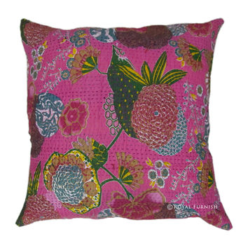 "24"" Inch Pink Indian Kantha Floral Cotton Throw Pillow Cushion Cover Sham"