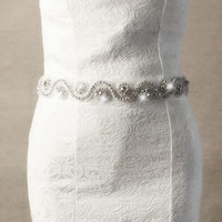 Handmade Wedding Bridal Dress Sash Belt Crystal Rhinestone Waist Belt (Color: White) = 1933033732