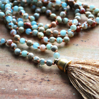 African Opal Tassel Necklace // Knotted Gemstone Necklace // African Opal // Long Beaded Necklace // Boho Tassel Necklace T016 by Sam Taylor