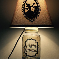 Mickey Mouse Inspired Mason Jar Character Lamp by PracPerfCrafts