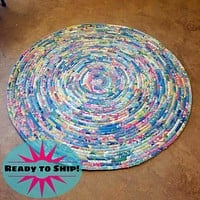 R2S Handmade Floor Mat 3-foot Area Rug Fabric Pastel Colors Upcycled Vintage Quilt Ready to Ship