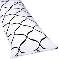 Full Length Double Zippered Body Pillow Cover for Black and White Princess Bedding Set by Sweet Jojo Designs