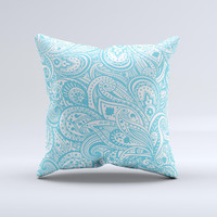 Light Blue Paisley Floral Pattern V3 ink-Fuzed Decorative Throw Pillow