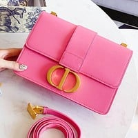 Dior Trending Popular Women Shopping Leather Shoulder Bag Cowhide Crossbody Satchel Pink