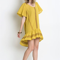 Embroidered Ruffle Baby Doll Dress