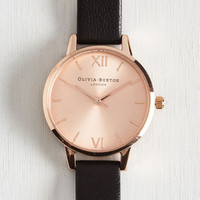 Menswear Inspired Undisputed Class Watch in Black Rose Gold - Midi by Olivia Burton from ModCloth