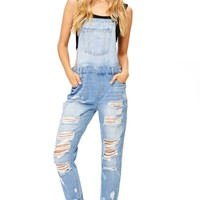 Warehouse Distressed Ankle Overalls