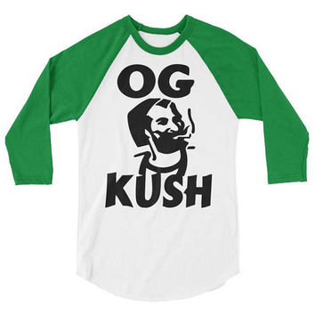 OG Kush Men's 3/4 Green Sleeve Cannabis Style Baseball Jersey Raglan T-Shirt | Weed Accessories & Stoner Gifts