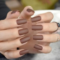 Matte Coffee Brown Square Head False Nails Middle-long Full Cover Chocolate Fake Nail Acrylic Nail Tips Fuax Ongles Finger Art