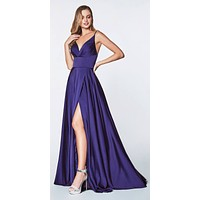 Floor Length Spaghetti Strap Purple Prom Dress V Neck