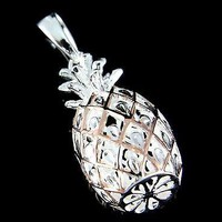 PINK ROSE GOLD ON 925 STERLING SILVER LARGE 3D HAWAIIAN PINEAPPLE PENDANT