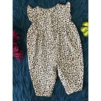New Fall Infant Cheetah Cotton Romper With Buttons On Front