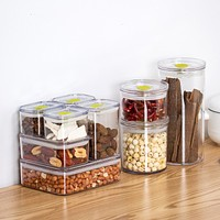 Receive A Box Of Refrigerators Receive Kitchen Food Box Plastic Transparent Round Grain Tea Candy Seal Pot