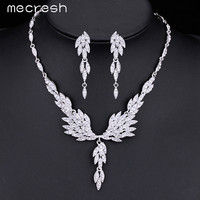 Mecresh Gorgeous Eagle Shape Crystal Bridal Jewelry Sets Silver Color Earrings Necklace Wedding Jewelry Set for Women MTL431