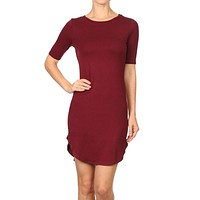 Sexy Round Neck 3/4 Sleeve Crescent Hem Bodycon Mini Dress