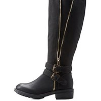 Black Riding Boots with Buckles and Zipper by Charlotte Russe