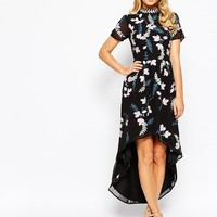 Frock and Frill High Neck Skater Dress In Embroidered Floral Embellishment With High Low Hem