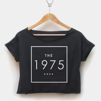 The 1975 Crop Top Tee Tshirt for Girl or Woman Clothing T shirt Black & White