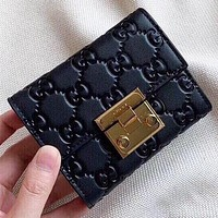 GUCCI New fashion more letter wallet  purse handbag Black