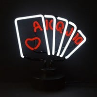 Royal Flush Poker Neon Sculpture