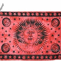 """Amitus Exports 1 X Good Morning 77""""x54"""" Approx. Inches Red Color Twin Size Cotton Fabric Multi-Purpose Handmade Tapestry Hippy Indian Mandala Throws Bohemian Tapestries"""