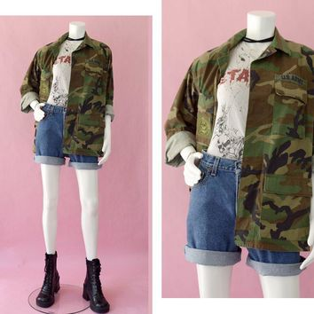 Camouflage Jacket Vintage, Army Fatigue Jacket, Size Small Long