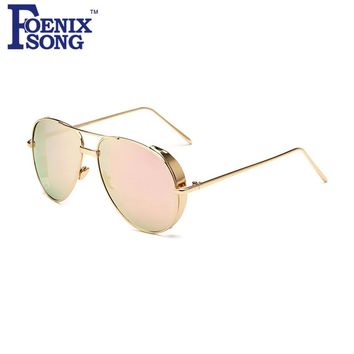 FOENIXSONG New Women's Flat Top Pink Mirrored Sunglasses Vintage Steampunk Eyeglasses Men Pilots Sun Glasses Gold Frame Oculos