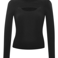 Carven Cut-Out Ribbed Wool-Blend Sweater Black