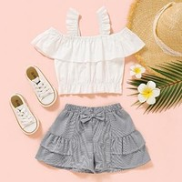 Sweet Hollow-out White Girl Two-piece Shorts Set