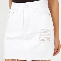 Leaving Home Denim Skirt in white Produced By SHOWPO