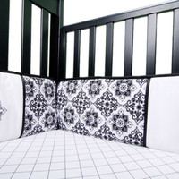 Versailles Black And White - Crib Bumpers