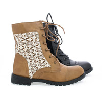 Tasha09 Crochet Lace Up Combat Faux Wooden Heel Ankle Boots