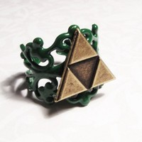 Triangles Ring, Deluxe Green, inspired by Legend of Zelda Triforce