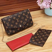 Louis Vuitton Classic Three-piece Chain Bag LV Letter Check Print Fashion Ladies One Shoulder Messenger Bag
