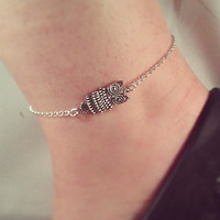 Owl Anklet - Silver Plated, Chain, Extendible