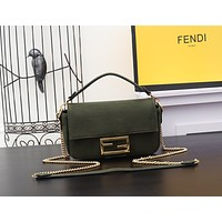 FENDI WOMEN'S LEATHER SMALL BAGUETTE HANDBAG SHOULDER BAG